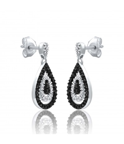 TJD 10 kt white gold 1/4 tdw (HI Color, I2 Clarity)  Black and White Diamond Pear Shaped Earrings for Women