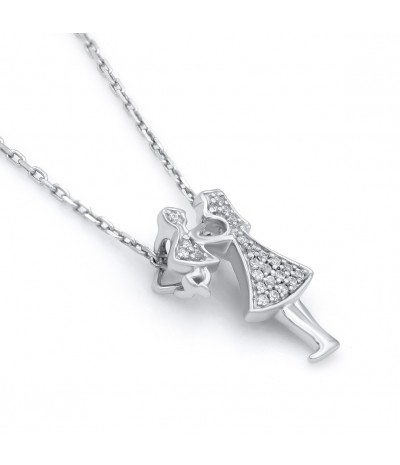 TJD 925 Sterling Silver 1/20 CT (HI Color, I3 Clarity) Mother Child Diamond Pendant for Women