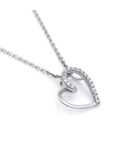TJD 925 Sterling Silver 1/20 CT (HI Color, I3 Clarity) Heart Shaped Diamond Pendant for Women