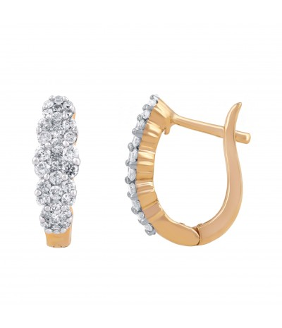 TJD 10 KT Yellow Gold Diamond Earring 1/2 cttw (H-I Color, I2-I3 Clarity)
