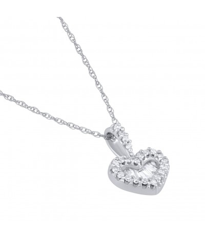 TJD 10 KT White Gold Diamond Heart Necklace 1/4 CT (Baguette-L-M Color,I1-I2 Clarity, Round-H-I-Color,I1-I2 Clarity)