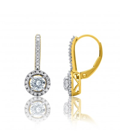 TJD 10 KT Yellow Gold 1.00 CT (H-I Color, I2 Clarity) Diamond Huggie Earrings for Women