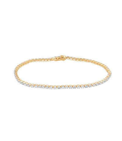 TJD 10KT Yellow  Gold and Diamond Tennis Bracelet 1.000 cttw (G-H Color, I3 Clarity)