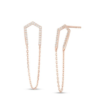 TJD 1/4 Carat 10 KT Rose Gold Natural Diamond (I Color, I3 Clarity) U-Shaped Chain Drop Earrings For Women