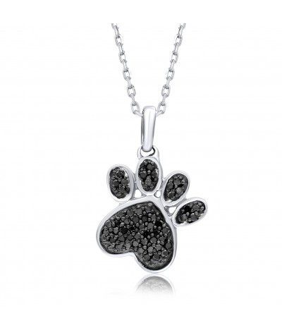 TJD 925 Sterling Silver 1/6 Carat Black Diamond Studded Dog Paw Pendant for Women