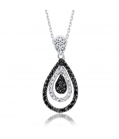 TJD 10 KT White Gold 1/4 CT (HI Color, I2 Clarity) Black and White Diamond Pendant for Women