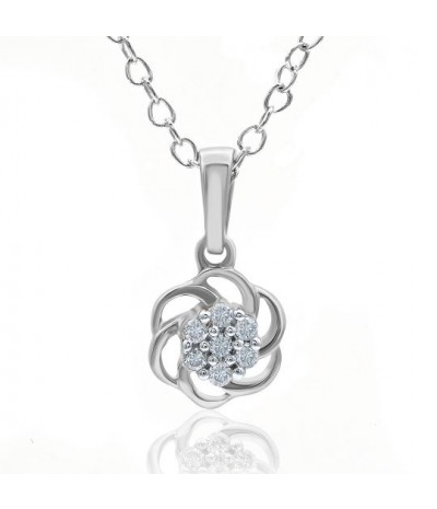 TJD 1/20 Carat 10KT White Gold Floral Diamond Pendant (I-J Color, I3 Clarity) For Women