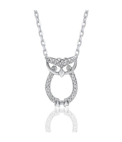 TJD 10 KT White Gold 1/20 CT (HI Color, I3 Clarity) Diamond Studded Owl Pendant for Women