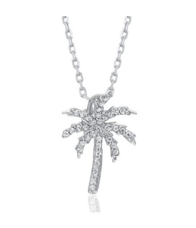 TJD 10 KT White Gold 1/10 CT (HI Color, I3 Clarity) Palm Tree Diamond Pendant for Women
