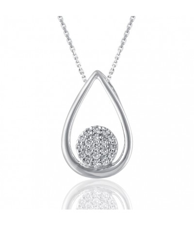 TJD 925 Sterling Silver 1/10 Carat (GH Color, I3 Clarity) Pear Shaped Diamond Pendant for Women