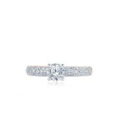 TJD 3/4 Carat 10KT White Gold  Natural Diamond (H-I Color, I1-I2 Clarity) Engagement Ring For Women, US Size 7
