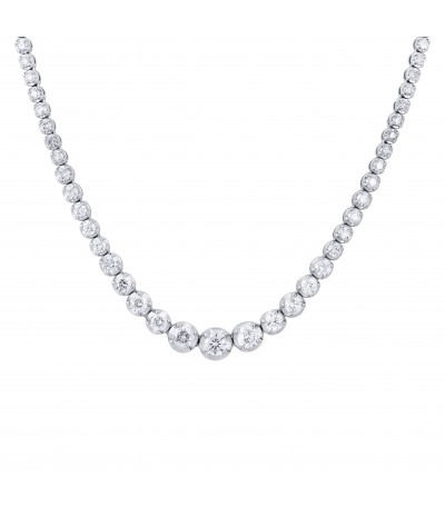 TJD IGI Certified 14 KT White Gold 5.00 CT (H-I Color, I1-I2 Clarity) Classic Diamond Necklace for Women