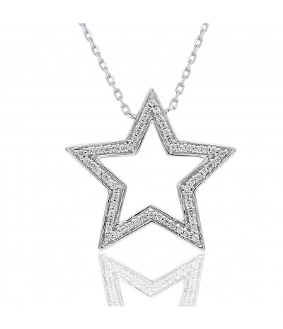 TJD 10 KT White Gold 1/6 CT (HI Color, I2Clarity) Charm Pendant With Star Studded with Diamonds for women