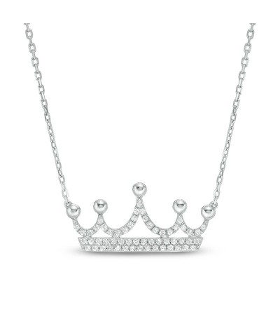 TJD 10 KT White Gold 1/5 CT (HI Color, I2 Clarity) Crown Pendant for women