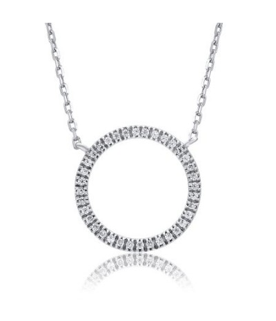 TJD 10 KT White Gold 0.07 (HI Color, I3 Clarity) Circular Diamond Pendant for women