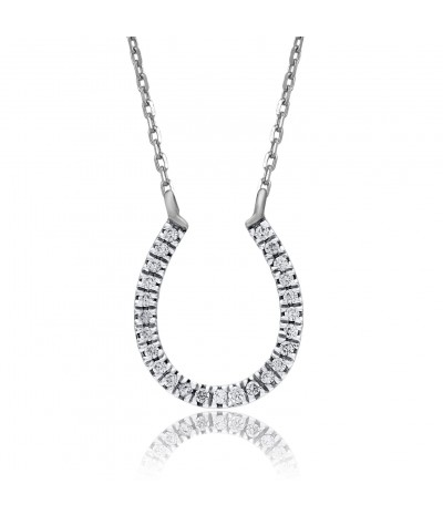 TJD 10 KT White Gold 1/10 CT (HI Color, I3 Clarity) Horseshoe Diamond Pendant for Women
