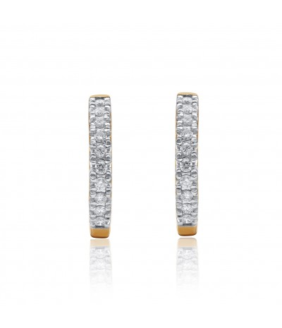 TJD 10 KT Yellow Gold 1/2 CT (H-I Color, I2 Clarity) Huggie Natural Diamond Earrings for Women