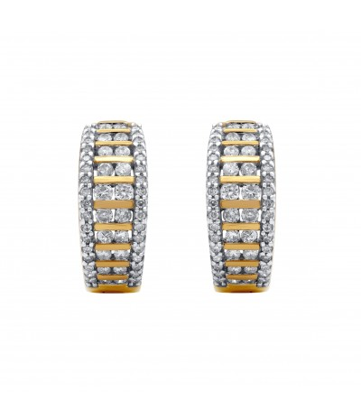TJD 10 KT Yellow Gold 3/4 CT (H-I Color, I2-I3 Clarity) Natural Diamond Huggie Earrings for Women