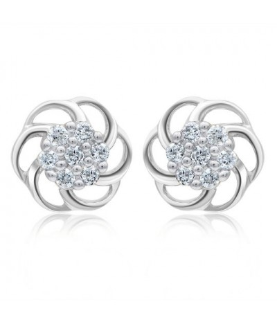 TJD 1/10 Carat 10KT White Gold Floral Diamond Earring (I-J Color, I3 Clarity) For Women