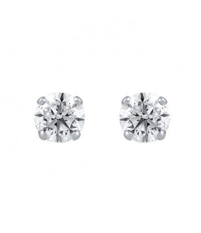 TJD 10 KT White Gold 3/8 CT (H-I Color, I2-I3 Clarity) Classy Solitaire Diamond Earrings for Women