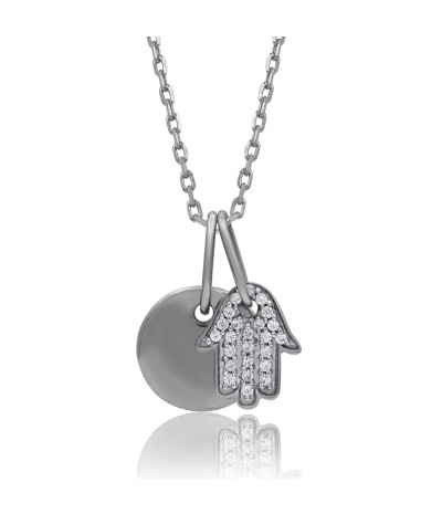 TJD 925 Sterling Silver 1/20 CT (HI Color, I3 Clarity) Diamond Studded Charm Pendant for Women
