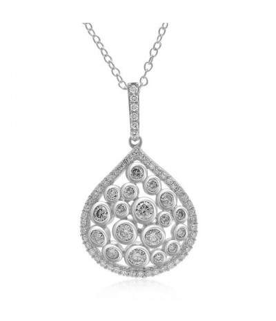 TJD 1.00 CT 14KT White Gold White Diamond (H-I Color, I3 Clarity) & Natural Champagne Diamond Pendant (Champagne - Color, I1I3 Clarity) For Women