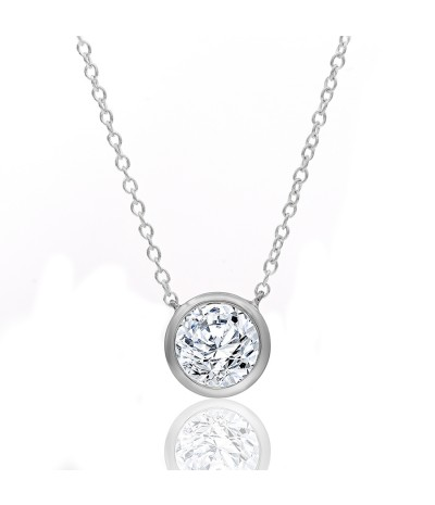 TJD 10 KT White Gold 1/5 CT (H-I Color, I2 Clarity) Halo Diamond Necklace for Women