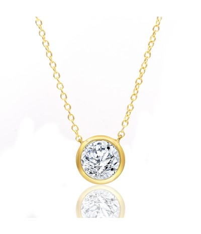 TJD 10 KT Yellow Gold 1/4 CT (H-I Color, I2 Clarity) Halo Diamond Necklace for Women