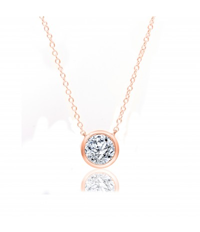 TJD 10 KT Rose Gold 1/4 CT (H-I Color, I2 Clarity) Halo Diamond Necklace for Women