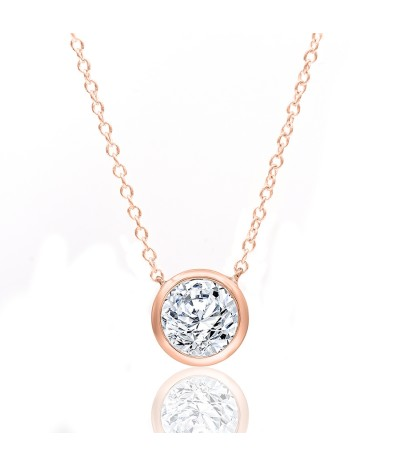 TJD 10 KT Rose Gold 1/3 CT (H-I Color, I2 Clarity) Halo Diamond Necklace for Women