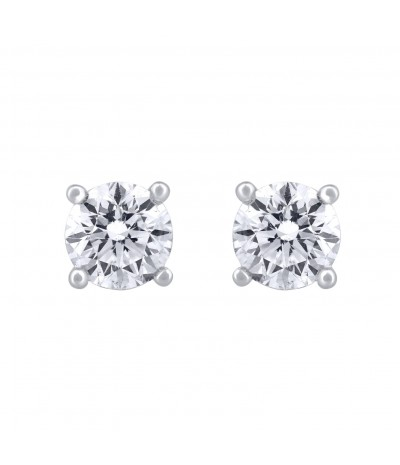 TJD IGI certified 14 KT White Gold Solitaire Diamond Earrings 3.000 CT (F-G Color, I1-I2 Clarity)