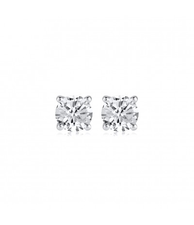 TJD 1.40 Carat 10KT White Gold Classic Solitaire Stud Earrings (G-H Color, I2I3 Clarity) For Women