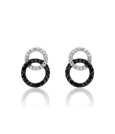 TJD 925 Sterling Silver 1/4 CT (HI Color, I3 Clarity) Black and White Diamond Circular Earrings for Women