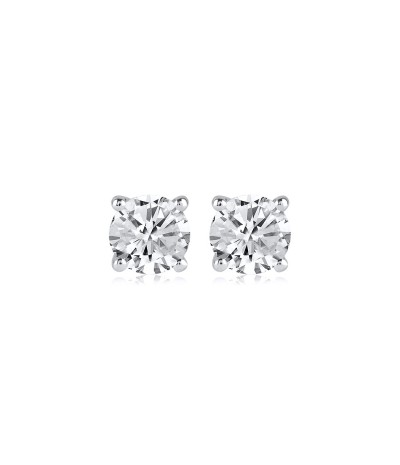 TJD 1.20 Carat 10KT White Gold Classic Solitaire Stud Earrings (G-H Color, I2I3 Clarity) For Women