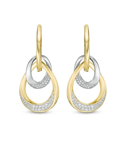 TJD 14 KT Yellow and White Gold Diamond Doorknocker Earrings 1/3 cttw (I-J Color, I1-I2 Clarity)