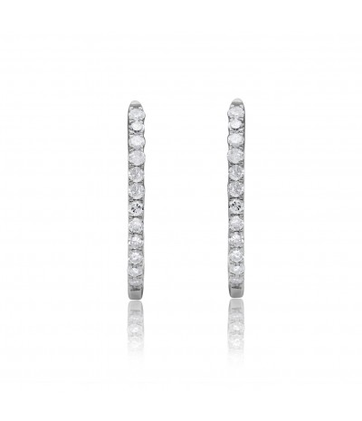 TJD 10 KT White Gold 1/10 CT (HI Color, I3 Clarity) Classic Diamond Hoop Earrings for Women