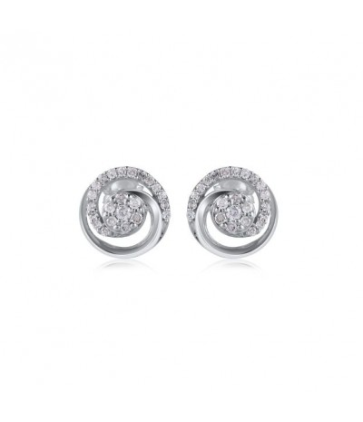 TJD 1/8 Carat 10 KT White Gold Natural Diamond (H-I Color, I2 Clarity) Circular Stud Earrings For Women