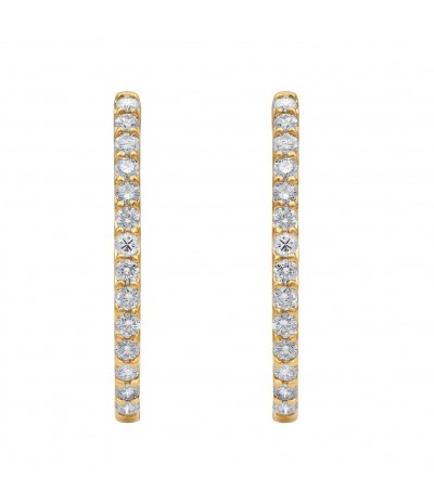 TJD IGI Certified 14 KT Yellow Gold 3.00 Carat For Women (G-H Color, I1-I2 Clarity) Natural Diamond Hoop Earrings for Women