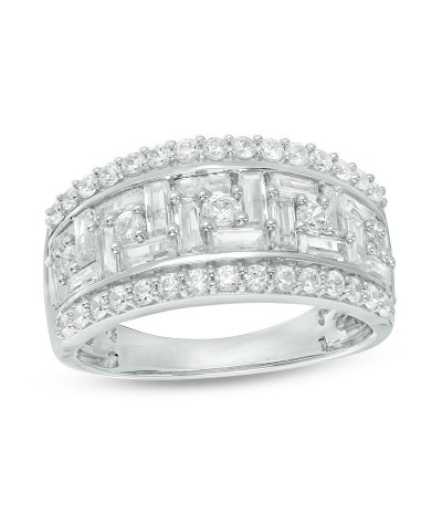 TJD 2 Carat 10 KT White Gold Natural (I Color, I3 Clarity) Baguette and Round Diamond Staggered Frame Ring For Women