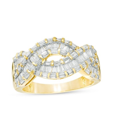 TJD 1 Carat 14 KT Gold Natural Diamond (I Color, I2 Clarity) Baguette Twist Ring For Women