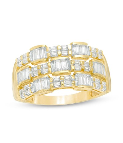 TJD 1 Carat 14 KT Gold Natural Diamond (I Color, I2 Clarity) Baguette Alternating Multi-Row Ring For Women