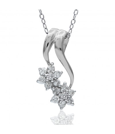 TJD 10K White Gold 1/4 Carat (HI Color, I3 Clarity) Floral Diamond Pendant for Women