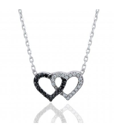 TJD 925 Sterling Silver 1/10 CT (HI Color, I3 Clarity) Diamond Studded Double Heart Pendant for Women