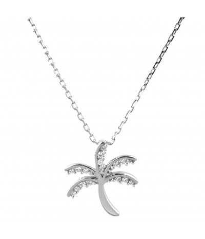 TJD 10 KT White Gold 1/10 Carat (HI Color, I2 Clarity) Palm tree Pendant Studded with Diamonds for Women