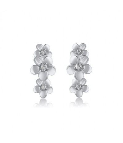 TJD 1/20 Carat 10 KT White Gold Natural Diamond (H-I Color, I2 Clarity) Floral Designed Drop Earrings For Women