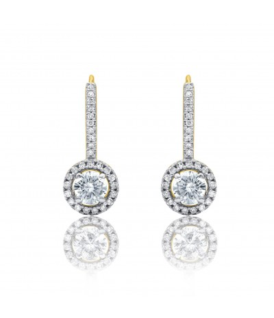 TJD 10 KT Yellow Gold 3/4 CT (H-I Color, I2 Clarity) Diamond Huggie Earrings for Women