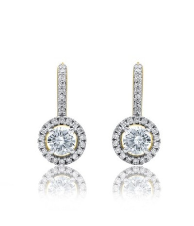 TJD 10 KT Yellow Gold 1 1/2 Carat (H-I Color, I2 Clarity) Diamond Huggie Drop Earrings for Women