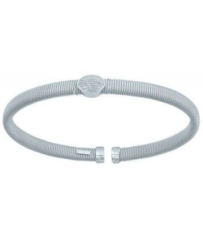 TJD 925 Sterling Sliver and diamond bangle 1/10 cttw (H-I Color, I1 Clarity)