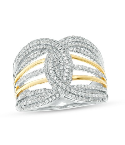 TJD 3/4 Carat 10 KT Gold Natural (I Color, I3 Clarity) Diamond Multi-Row Loop Ring For Women