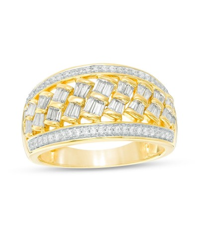 TJD 1 Carat 14 KT Gold Natural (I Color, I2 Clarity) Baguette and Round Diamond Slant Ring For Women